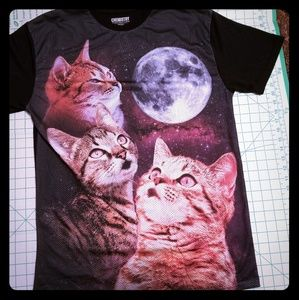 Chemistry Space Cats Shirt Size L